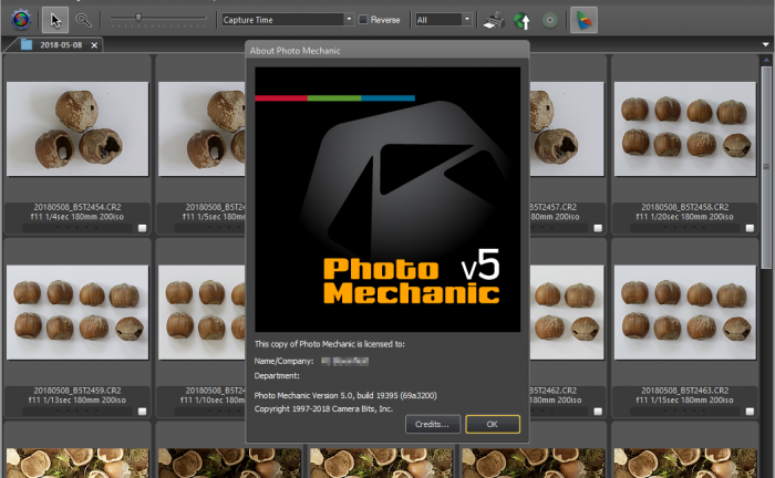 Camera Bits Photo Mechanic 5.0 About Screen