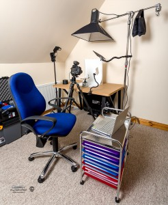 Desktop studio set up in place with lights and trolly